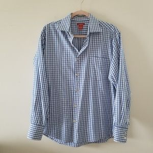 Sundance Catalog L Blue White Plaid Button Down